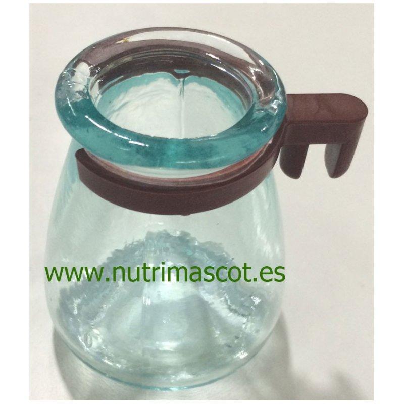 Bebedero de cristal con anilla de plastico para jaulas reclamo