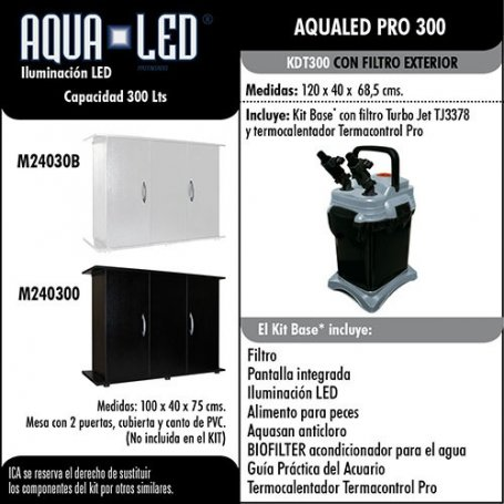 Kit Acuario  Aqualed 300 Litros Con Filtro Exterior