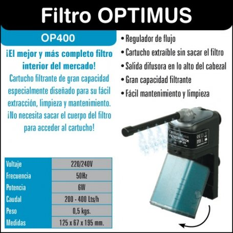 Filtro interior Optimus OP400. Caudal 200-400Lts/h