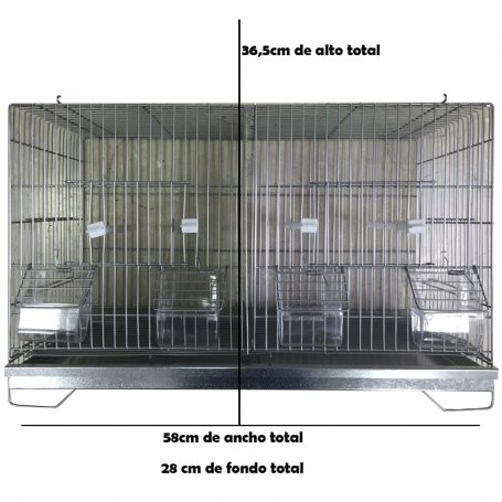 Jaula de cría para pájaros 60cm - 2 Departamentos