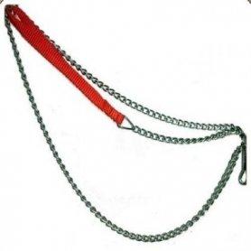 Correa cadena 120cm/2mm asa nylon acolchada roja