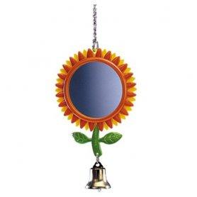 Juguete Para Pajaros Espejo Flor Colgador Con Campana