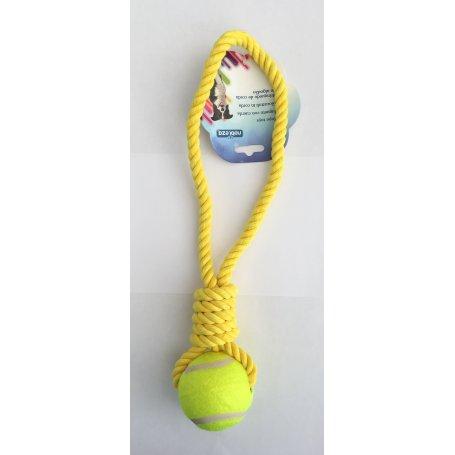 Juguete Para Perros Cuerda Con Pelota Tenis 38Cm