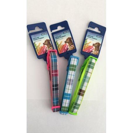 Collar Para Perros Nylon Cuadros Colores S 25-40Cm