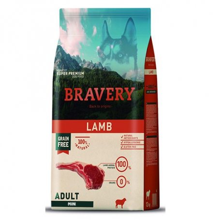 Pienso Bravery Grain Free Mini Adult 2Kg Con Cordero