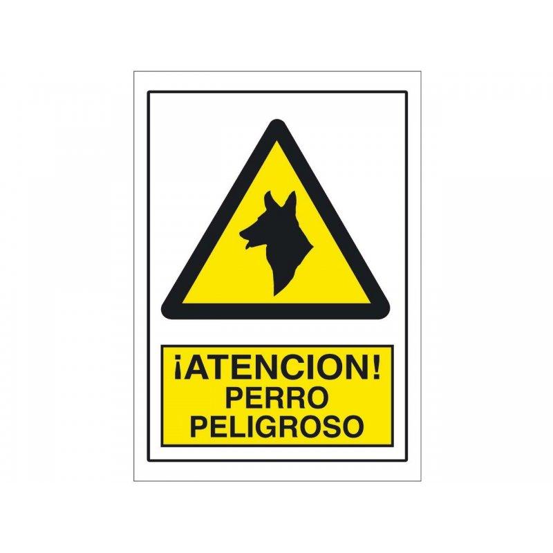 Cartel Plastico Advertencia Perro Peligroso 25X17Cm