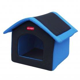 Casa Xt-Dog De Tela Para Perros PequeñOs De Color Azul Y Gris