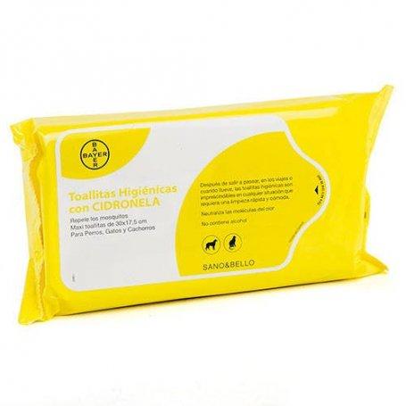 Bayer 36 Toallitas Limpiadoras Para Perros Y Gatos Con Citronela