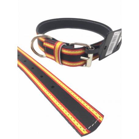 Collar Piel Negro - Bandera EspañA 45 Cm X 2,7Mm para perros en priego de cordoba