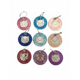 Medalla Redonda 25X25Mm Carita De Gato Colores Surtidos - placa identificativa