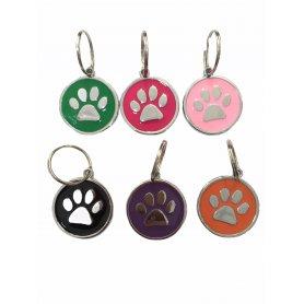 Medalla Redonda 30X30 Huella Canina Colores Surtidos, placas identificativas en priego