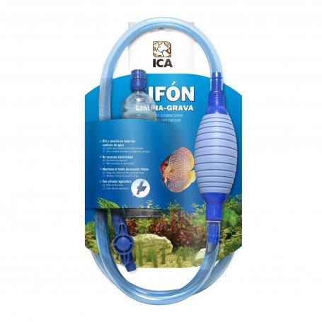 Sifon Limpiagrava Con Llave Y Perilla De Carga Ica para la limpieza del fondo de los acuarios