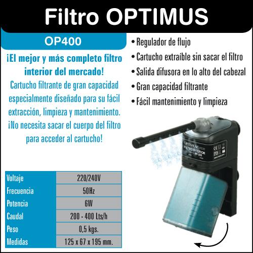 Filtro optimus 400 que contiene el acuario kit completo aqua light 100 litros