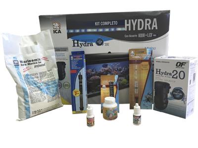 kit acuario marino hidra pure con sal, termometro, termocalentador, comida, acondicionador, bacterias, y densimetro.