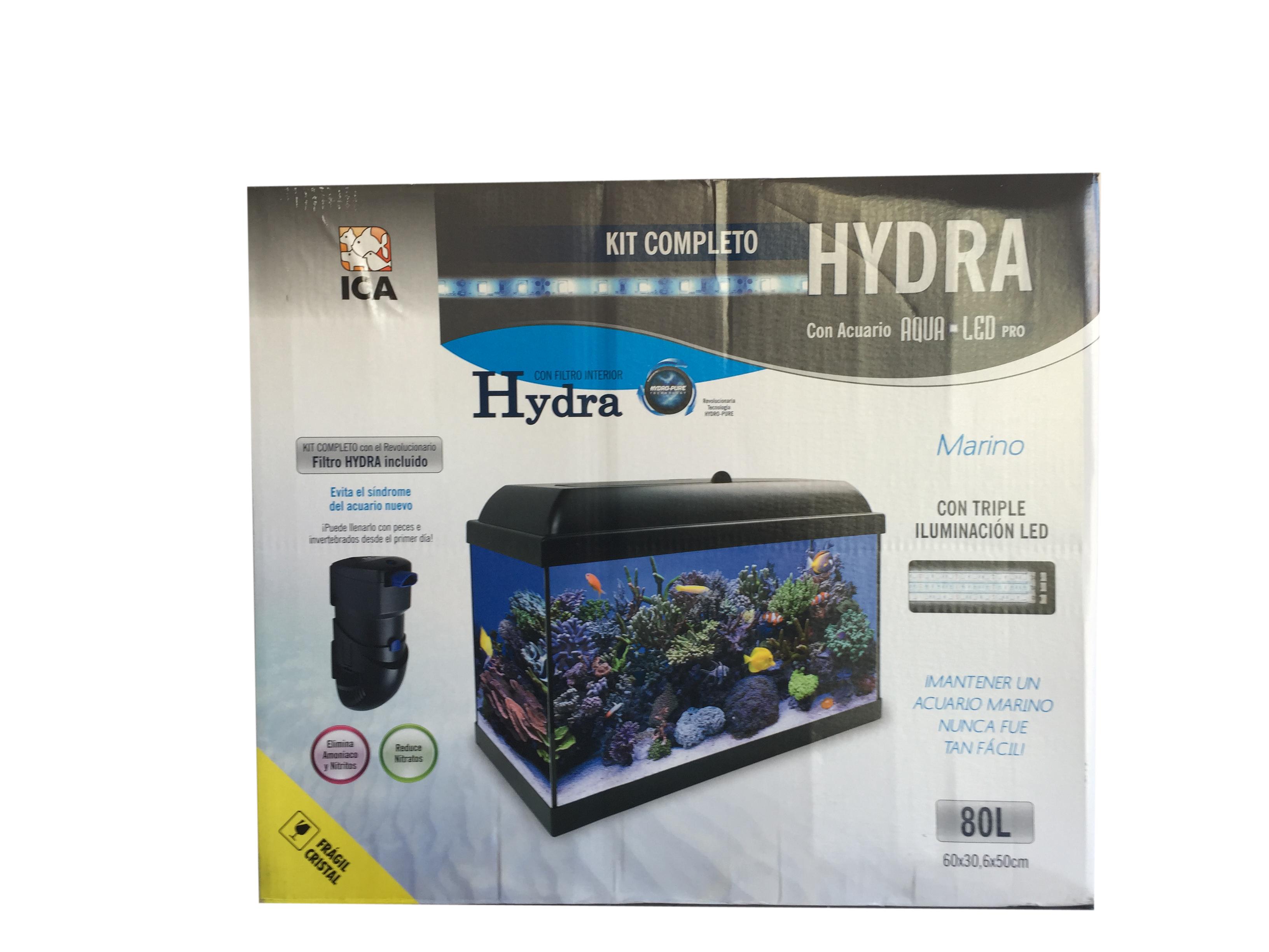 Kit acuario marino hydra 80 litros for Filtro acuario marino
