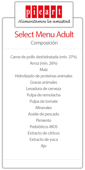 tabla de ingredientes de picart perros.